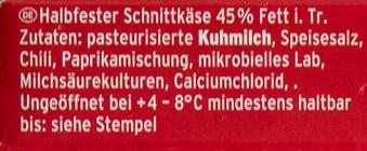 Grill- und Pfannenkäse Chili - Inhaltsstoffe - de