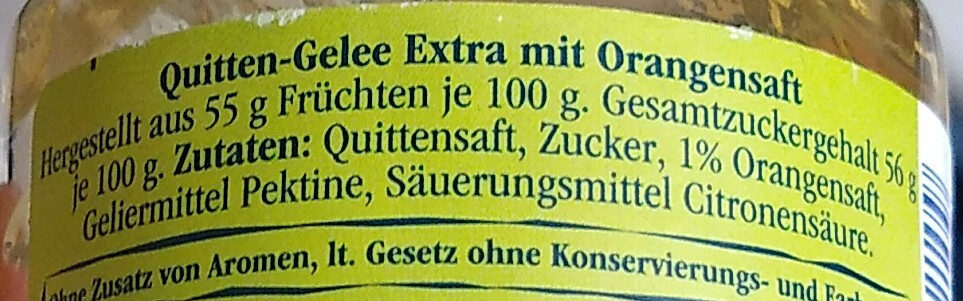 Quitten Gelee - Ingredients - de