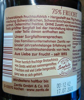 Zentis 75% Frucht Schwarzkirsche - Ingrediënten