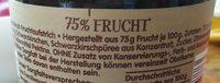 Zentis 75% Frucht Schwarzkirsche - Ingrédients - fr
