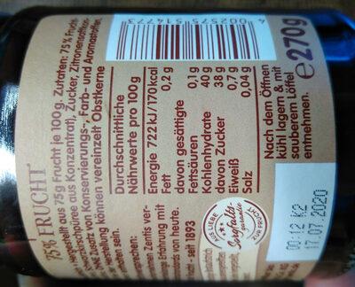 Zentis 75% Frucht Schwarzkirsche - Voedingswaarden
