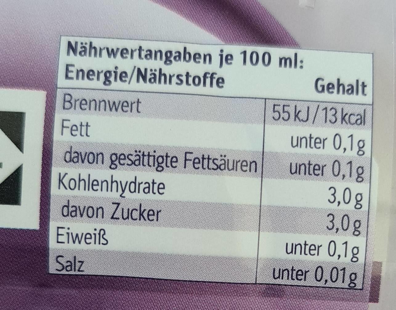 Fruit and Water Brombeere - Valori nutrizionali - de