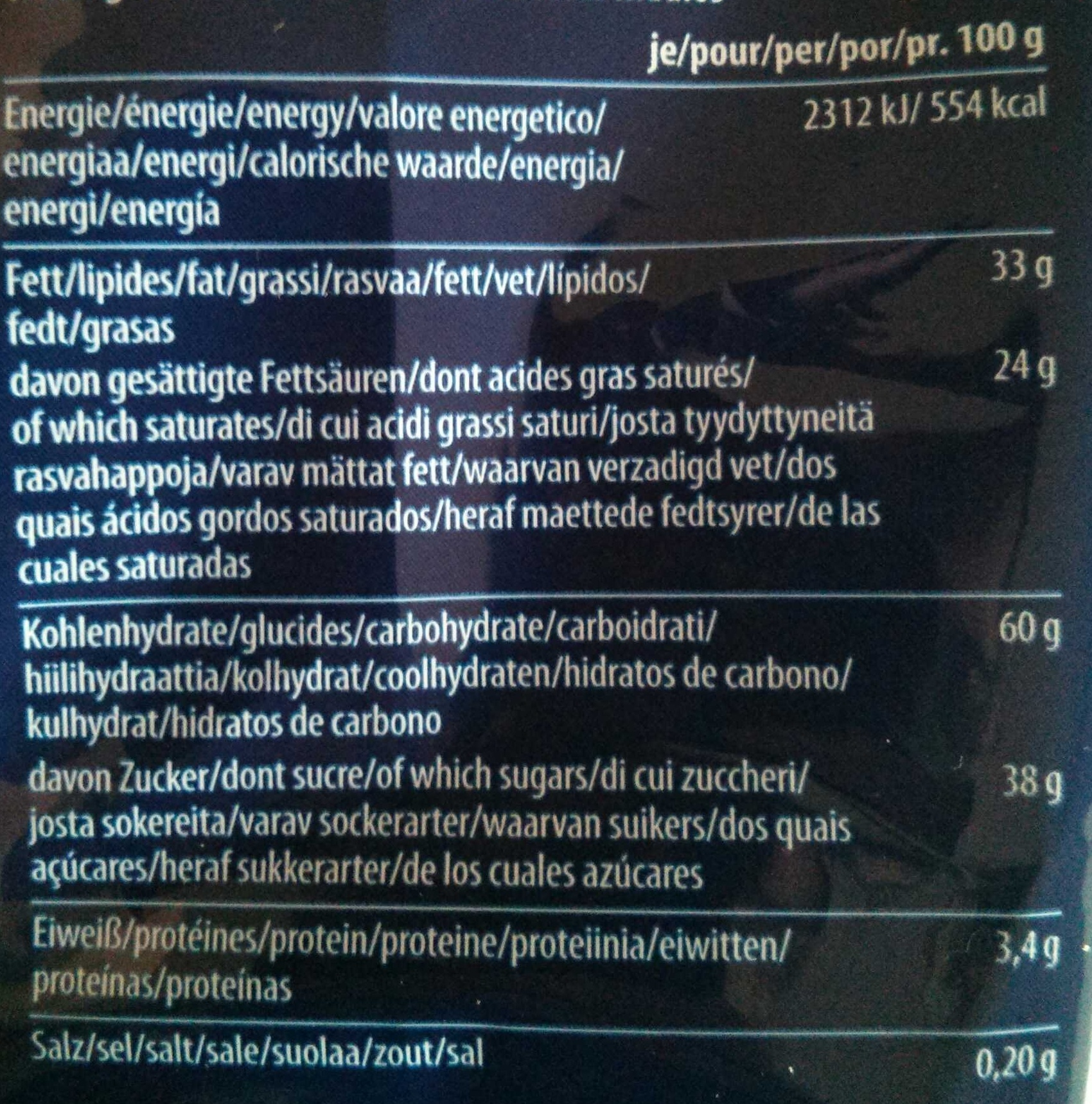 Desiree - Nutrition facts