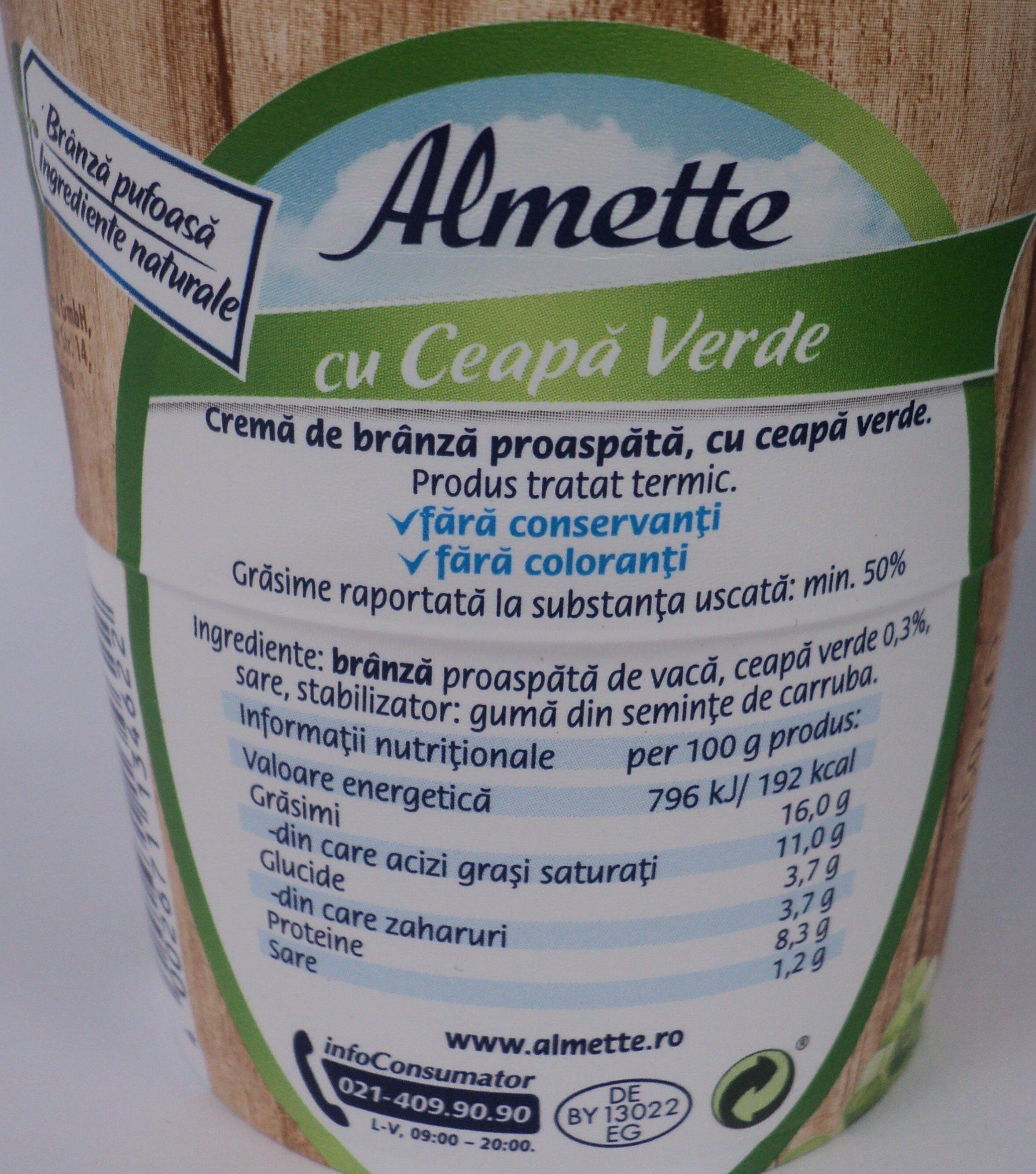 Almette Cremă de brânză proaspătă cu ceapă verde - Ingredients - ro
