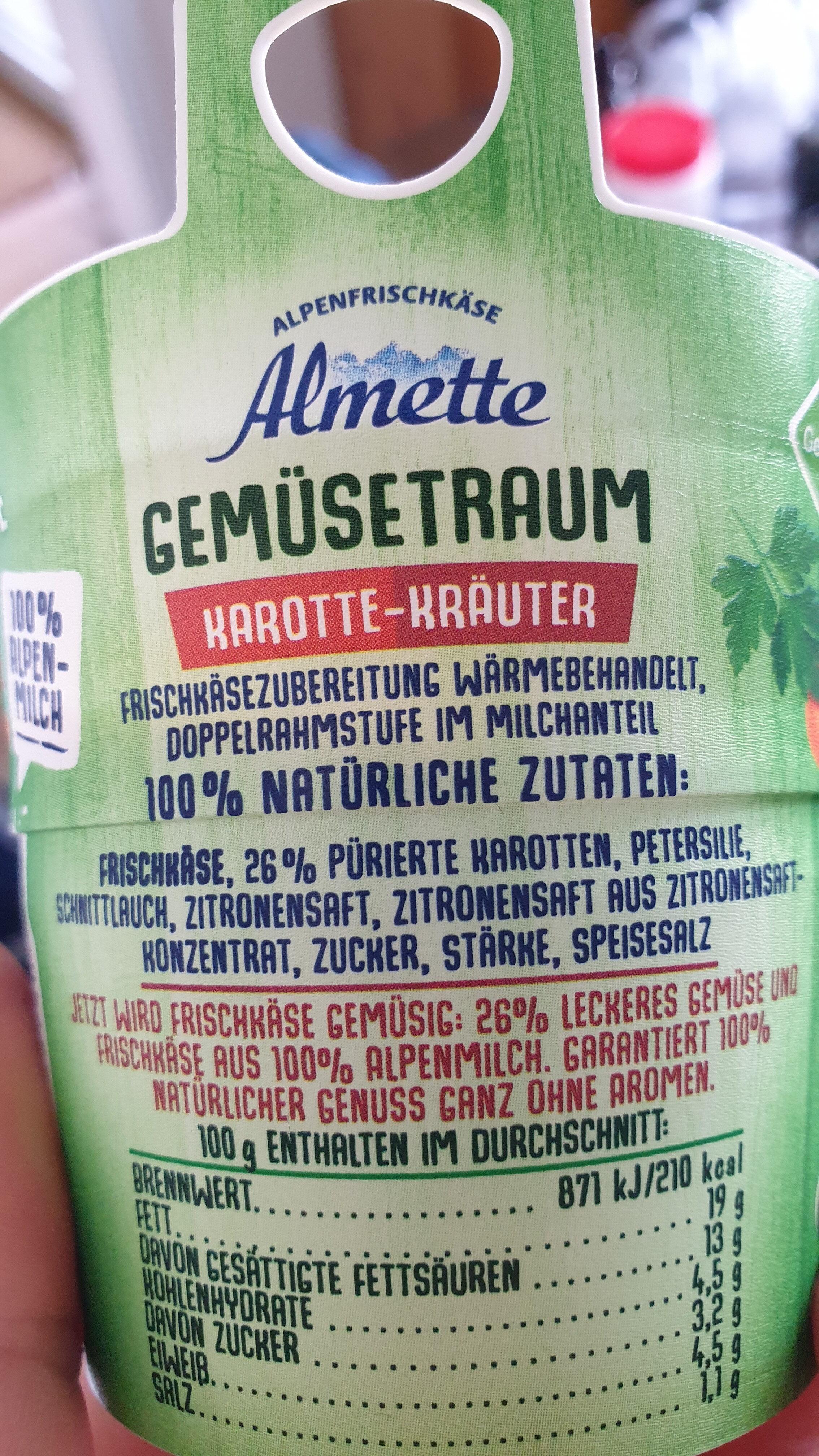 Gemüse Traum Karotte Kräuter Frischkäse - Zutaten - de