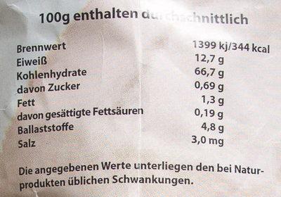 Bauernbrot-Mehl - Nährwertangaben