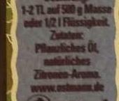 Natürliches Zitronen Aroma - Inhaltsstoffe