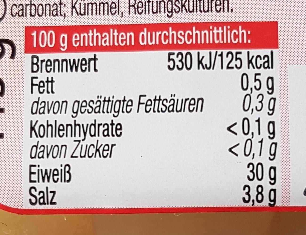 Handkäse, Olmützer Quargel - Informations nutritionnelles - de