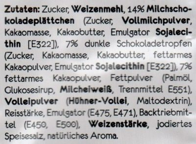 Tassen Kuchen Schokolade - Tüpfelchen - 70G - Ingrediënten - de