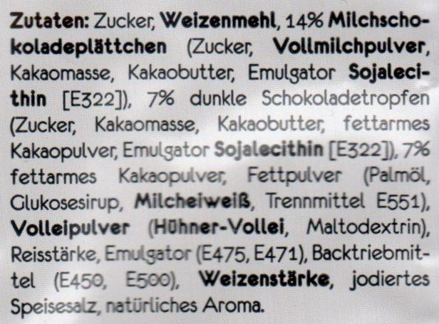 Tassen Kuchen Schokolade - Tüpfelchen - 70G - Ingredients