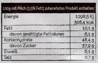 Tassen Kuchen Schokolade - Tüpfelchen - 70G - Nutrition facts