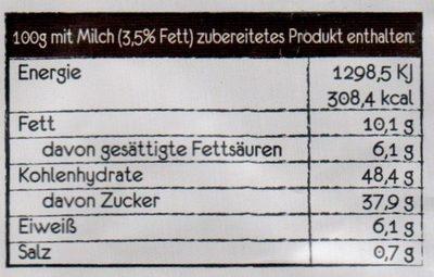 Tassen Kuchen Schokolade - Tüpfelchen - 70G - Voedingswaarden - de