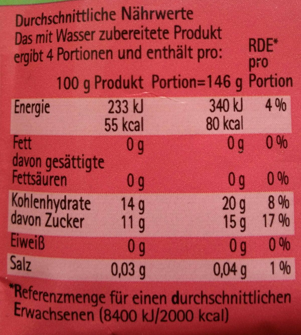 Unsere Kaltschale Sauerkirsch - Nährwertangaben