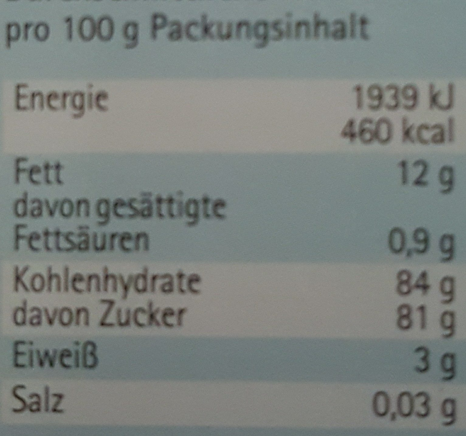 Unser Haselnuss-Krokant - Nutrition facts - de