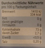 Agartine - Valori nutrizionali - de
