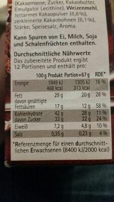 Unsere Tarte au Chocolat - Nährwertangaben - de
