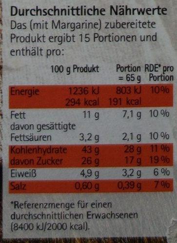 Apfel Haferflocken Kuchen mit Tonka Glasur - Nutrition facts - de