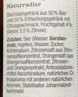 Glaabsbräu Naturradler - Ingrediënten - de