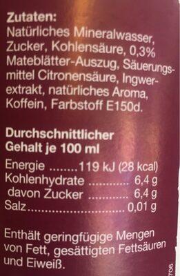 Mate Ginger - Informations nutritionnelles - de