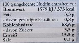 Original Hausmacher Blüten - Nährwertangaben