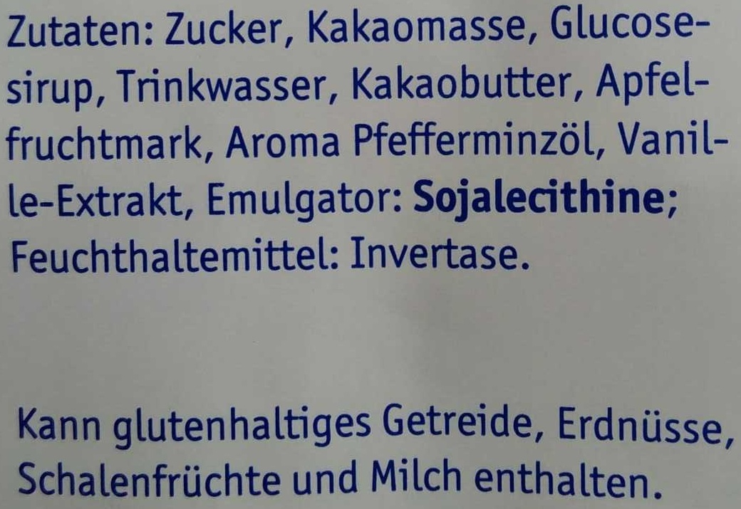 Feine Pralinentaler Pfefferminz - Ingrédients
