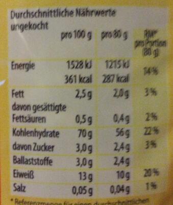 Eier-Nudeln - Voedingswaarden - de