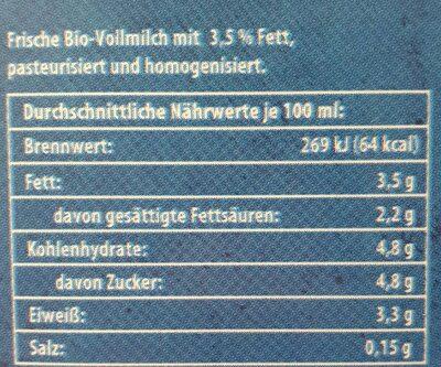 Frische Bio Milch - Nutrition facts