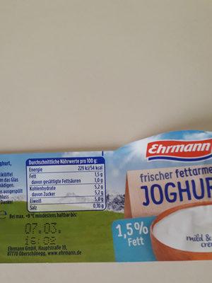 Joghurt - Informations nutritionnelles