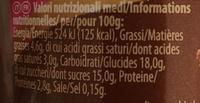 Grand dessert double choc - Nutrition facts