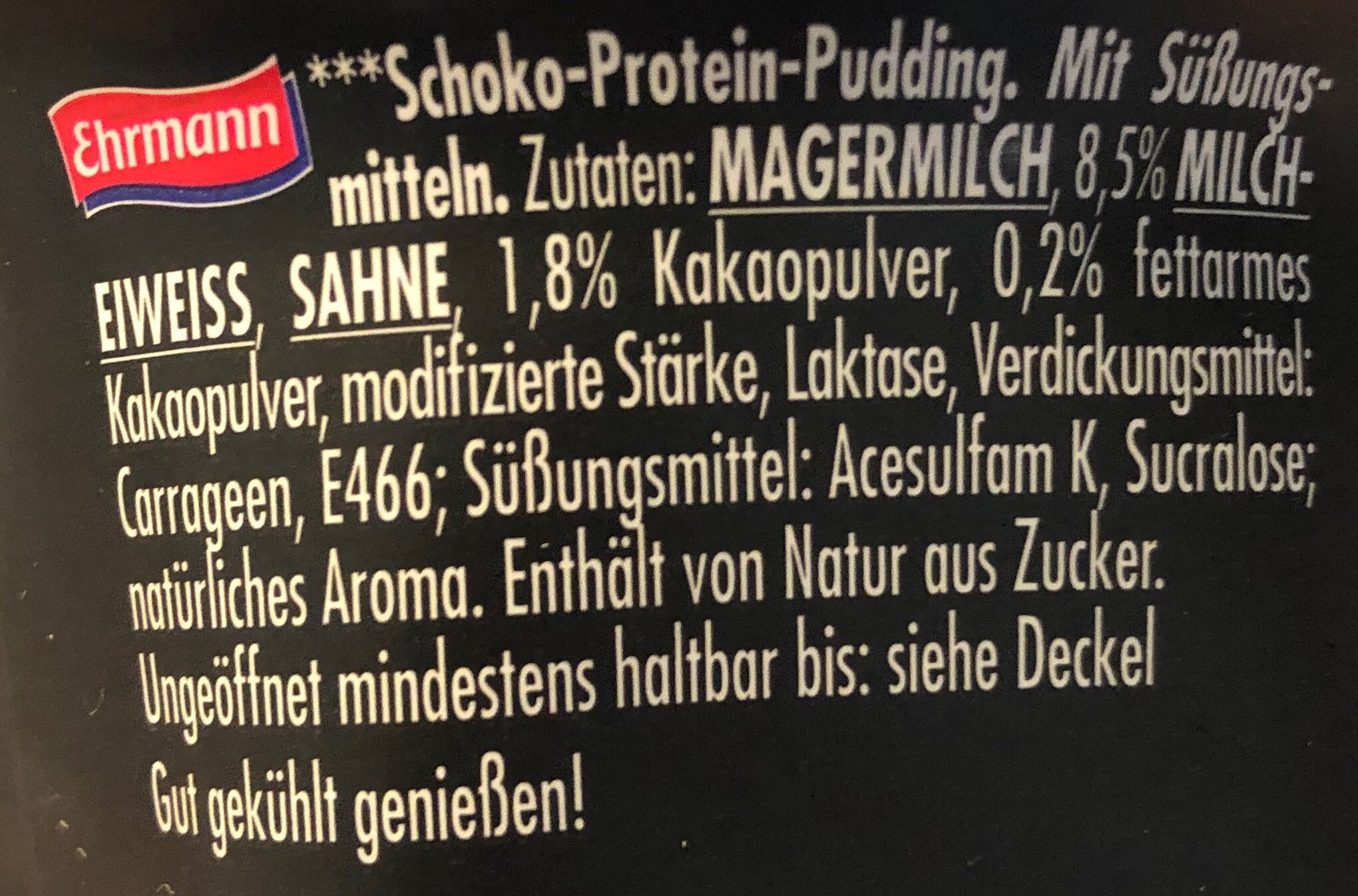 High Protein Chocolate pudding - Ingredients - en