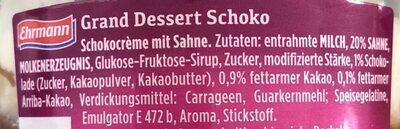Grand dessert Schoko - Ingrédients
