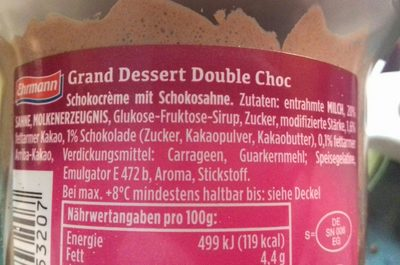 Grand Dessert Double Choc - Ingrédients