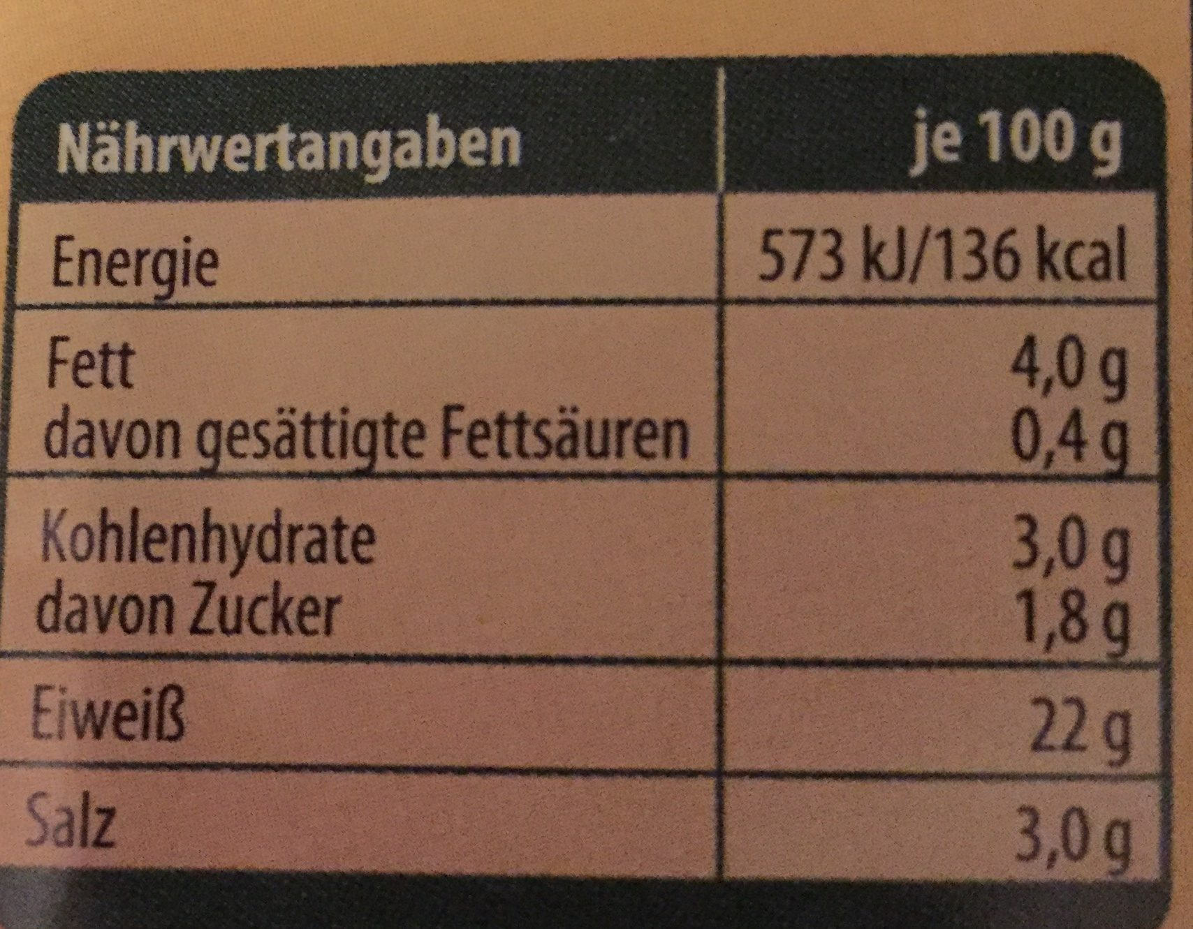 Hähnchen-Filetstreifen - Nutrition facts