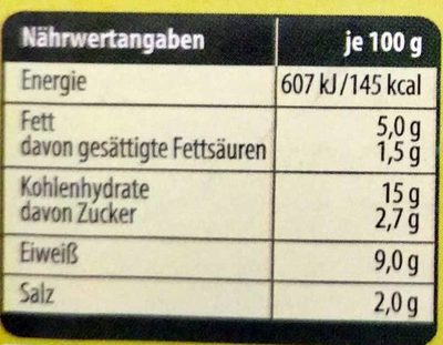 Gemüsefrikadellen mit Geflügelfleisch - Nährwertangaben