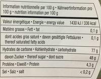 Lucioles acidulées - Voedingswaarden - fr