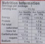 Gummi Pizza - Informations nutritionnelles