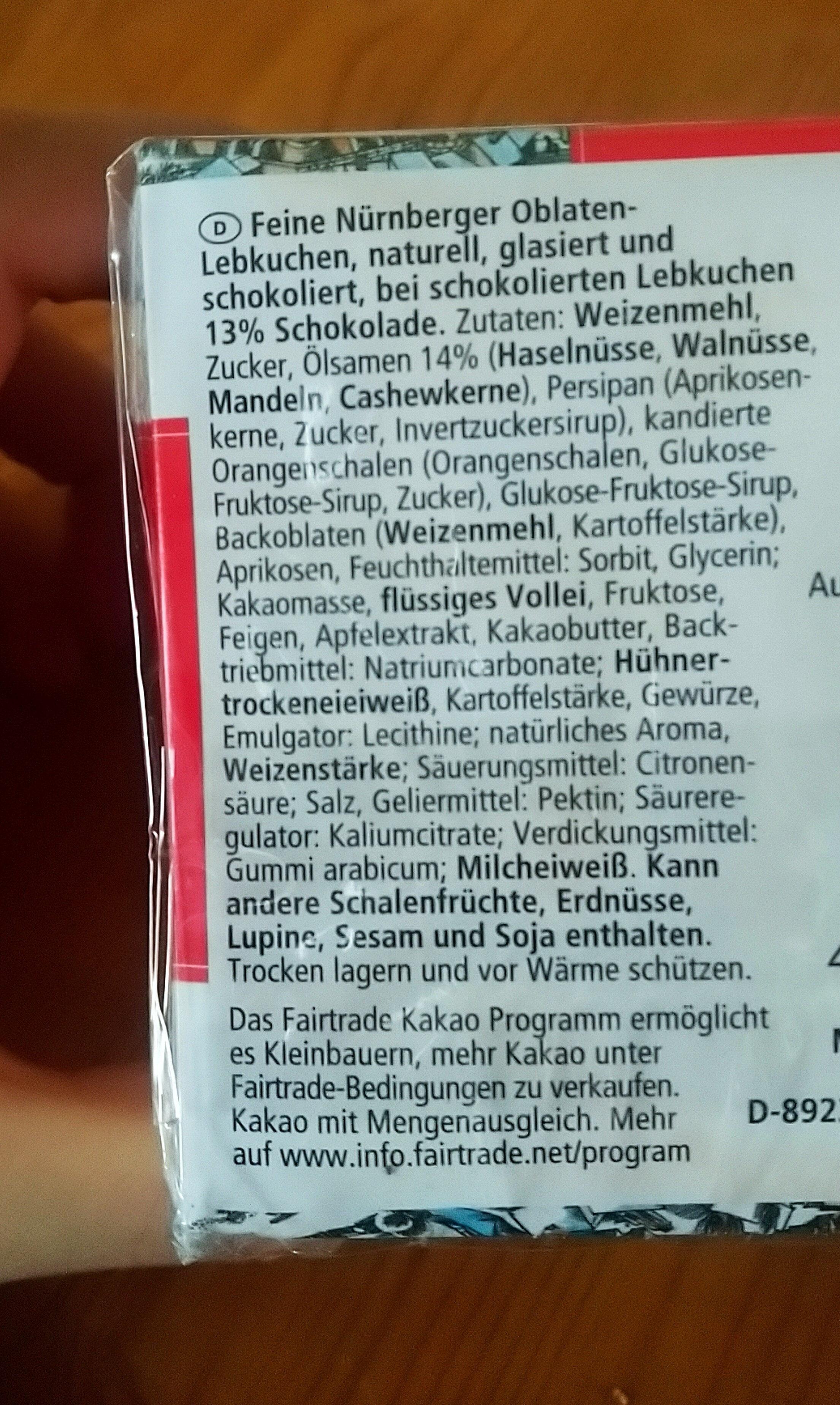 Feine Nürnberger Oblaten Lebkuchen - Ingrediënten - de