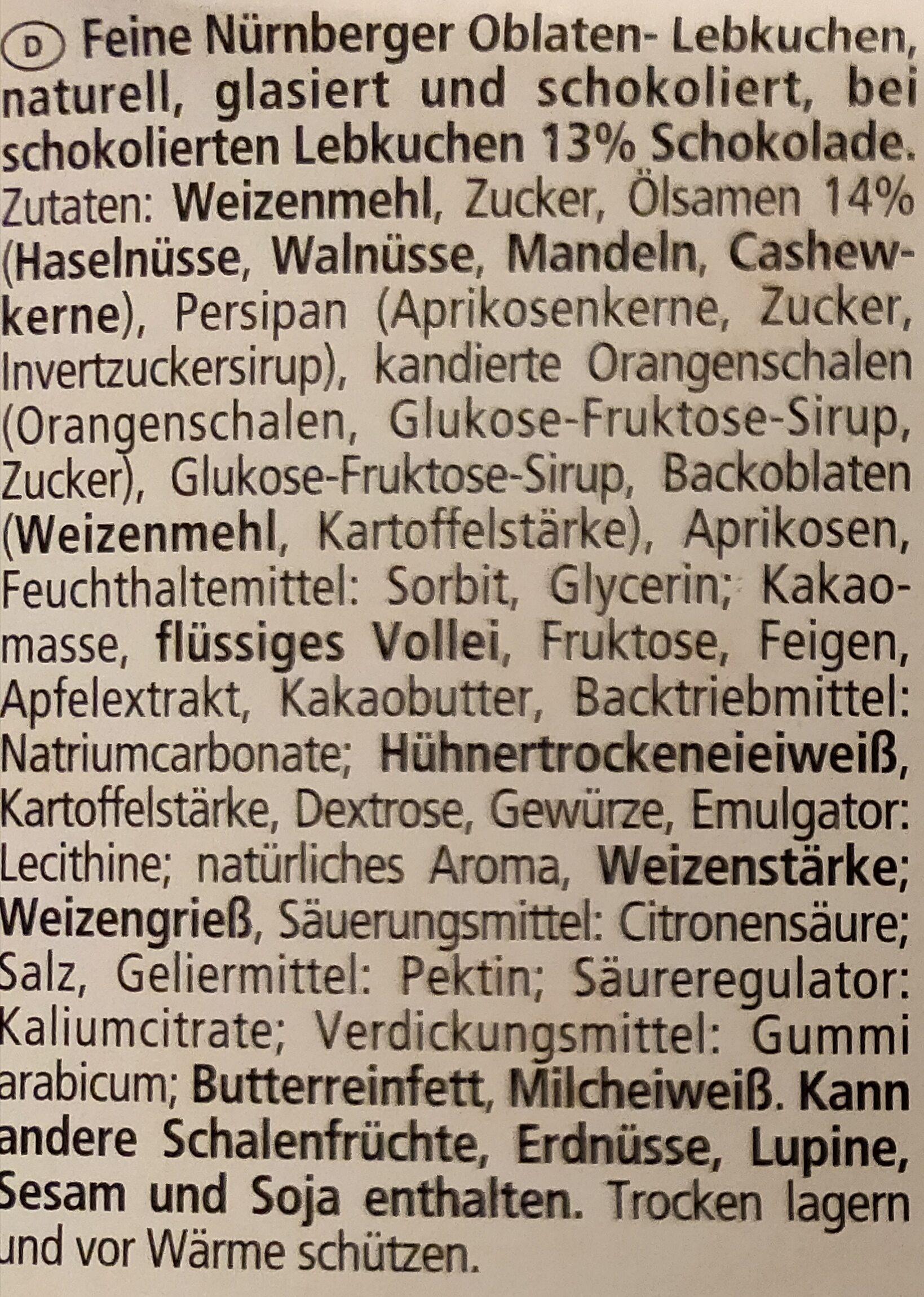 Feine Nürnberger Oblaten Lebkuchen - Zutaten - de