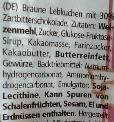 Lebkuchenstäbchen Zartbitter - Ingrédients - de