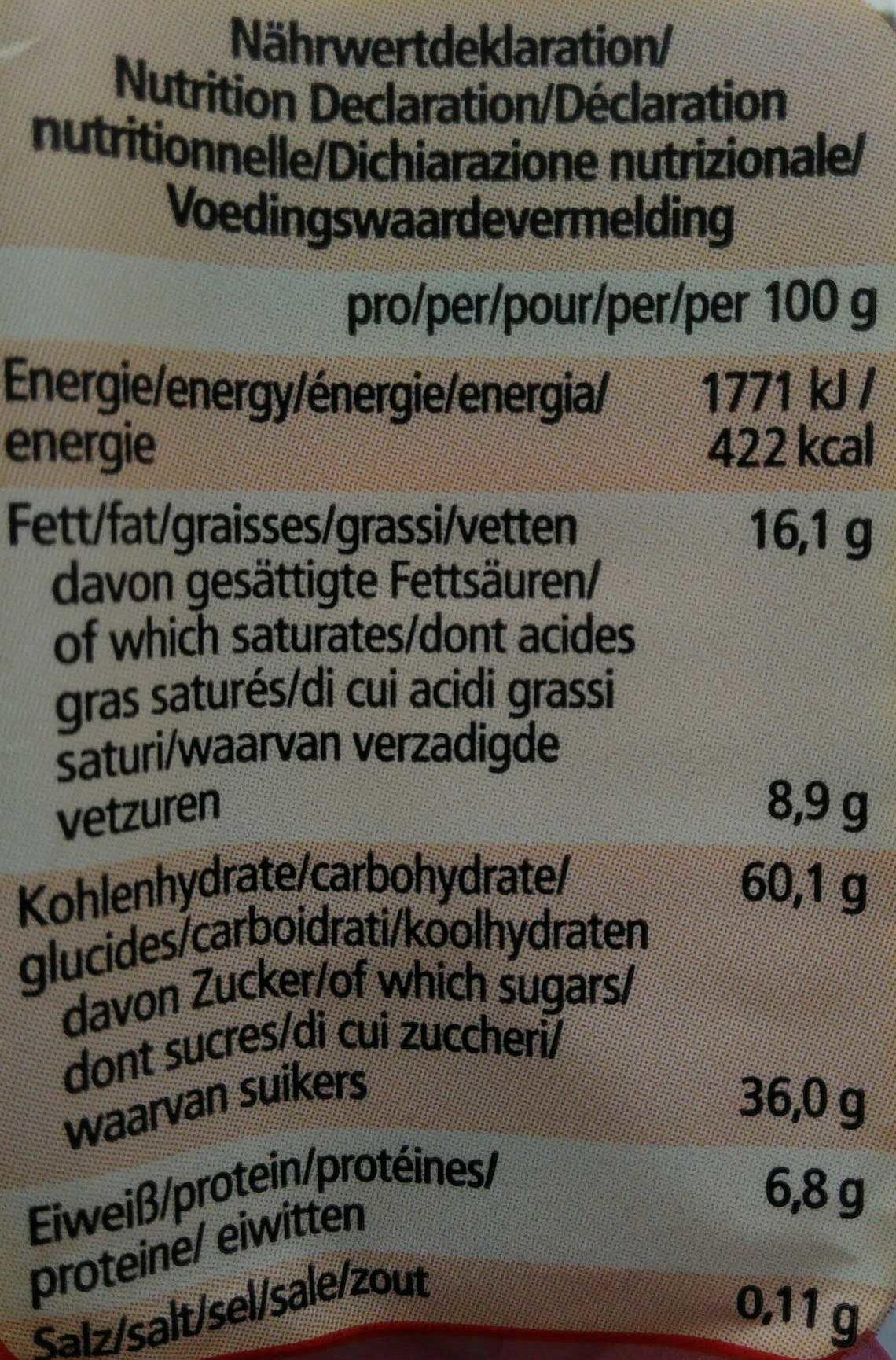Lebkuchenstäbchen Zartbitter - Informations nutritionnelles - de