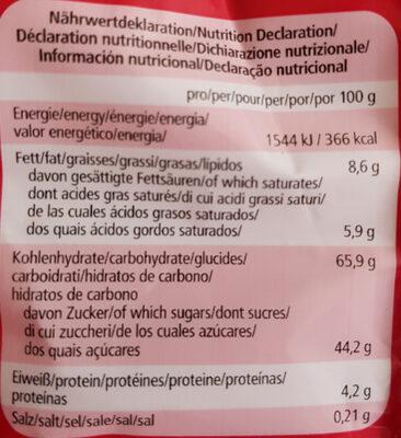 Lebkuchen-Herzen zartbitter mit Aprikosenfruchtfüllung - Informations nutritionnelles