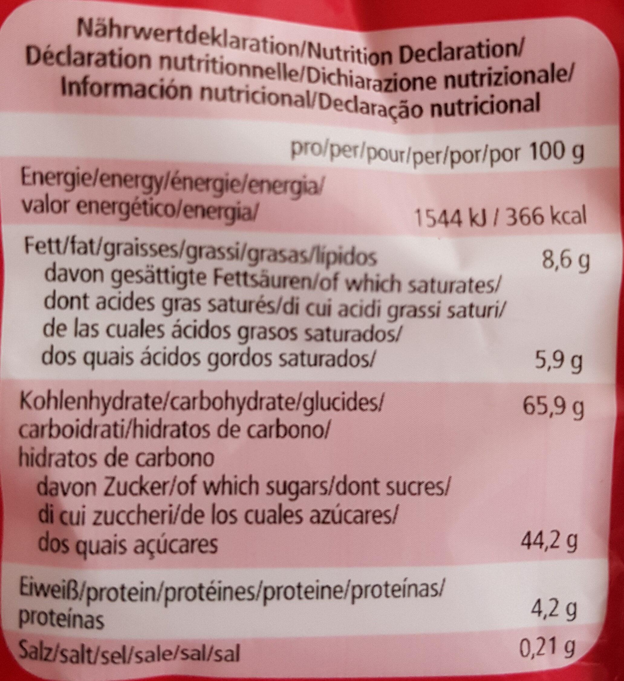 Lebkuchen-Herzen zartbitter mit Aprikosenfruchtfüllung - Informations nutritionnelles - de