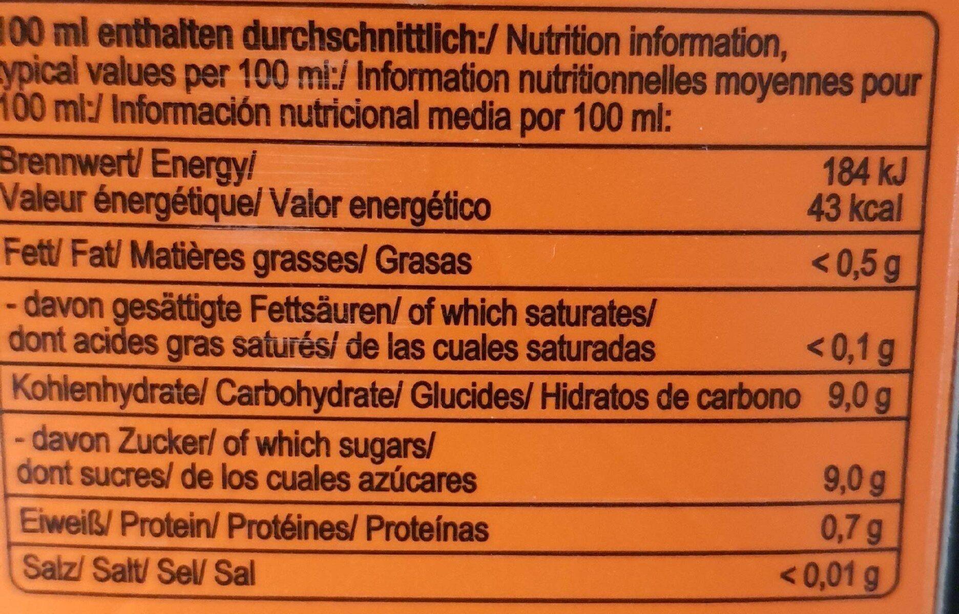 Orangensaft - Nährwertangaben - de