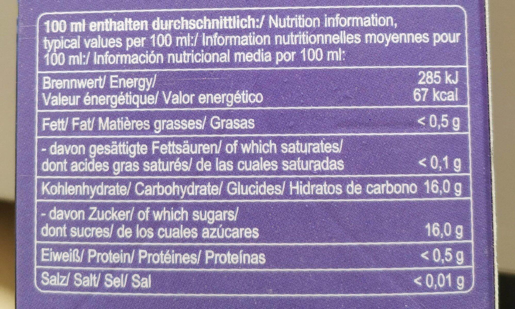 Albi Traube Direktsaft 1l Ew - Informations nutritionnelles - de