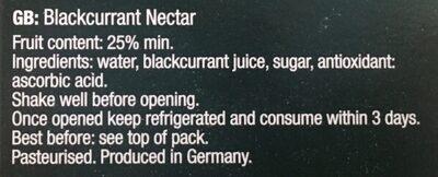 Blackcurrant Nectar - Ingredients - en