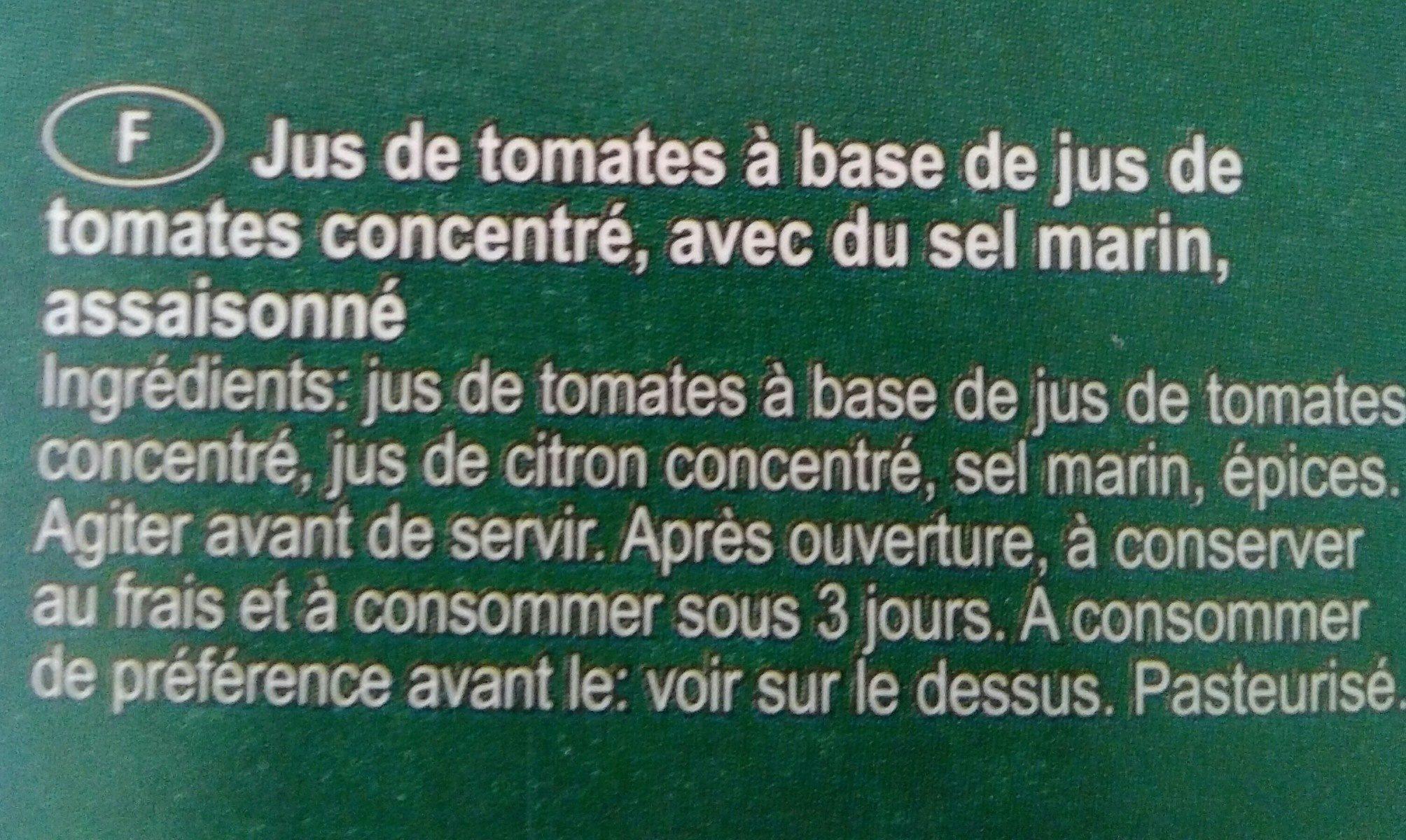 Jus de tomate - Ingredients - fr