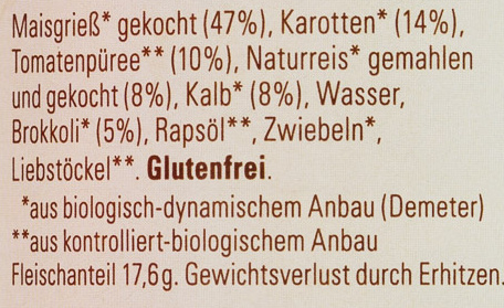 Gemüsepolenta mit Kalb - Ingredients