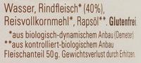 Fleischzubereitung Rind - Inhaltsstoffe