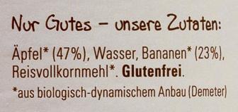 Apfel-Banane - Inhaltsstoffe