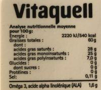 Vita'coco Tartine et Cuisine - Informations nutritionnelles